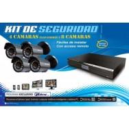 Todo en uno H.264 camara de seguridad -kit de 4 canales con DVR y 4 camaras resistente al agua
