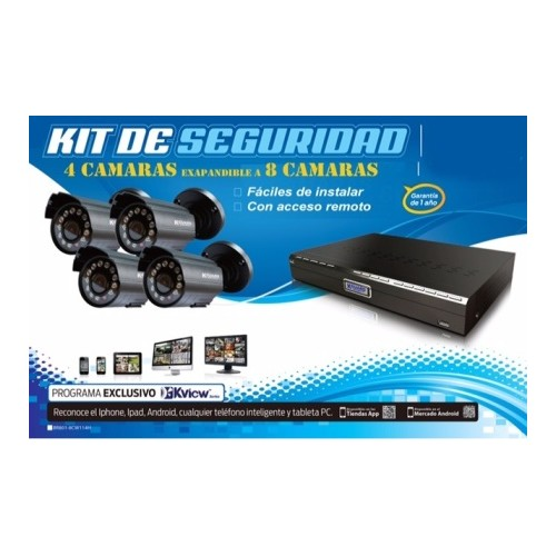 All-in-One H.264 Surveillance Combo Kit with 4-Channel DVR and 4 Weatherproof Day/Night Cameras