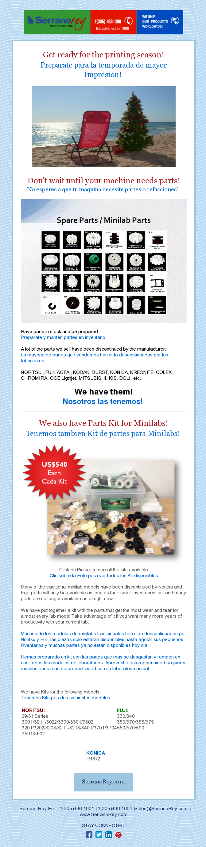 SPARE PARTS FOR MINILABS